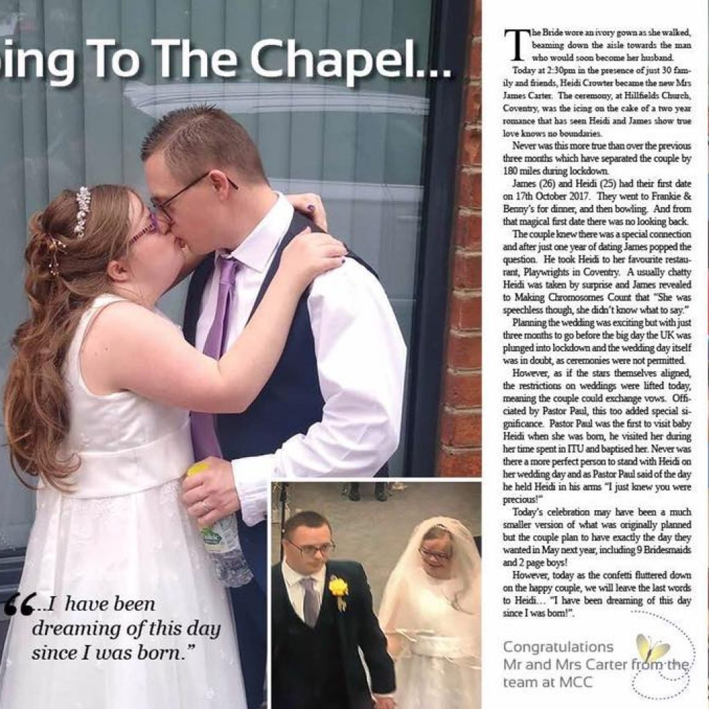 Today a couple with Down syndrome hold a 'socially distanced' wedding after coronavirus restrictions are relaxed.